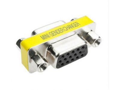 Mini Gender Changer (coupler) HDB15 male to HDB15 female adapter