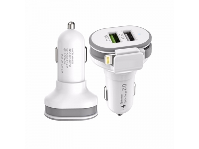 Manufacturer Aluminum Alloy 2 usb Port car charger with cable