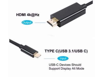 Type C to hdmi adapter For Computer Hd Tv Support 4K 60Hz 4K@60HZ USB type-C to HDMI cable