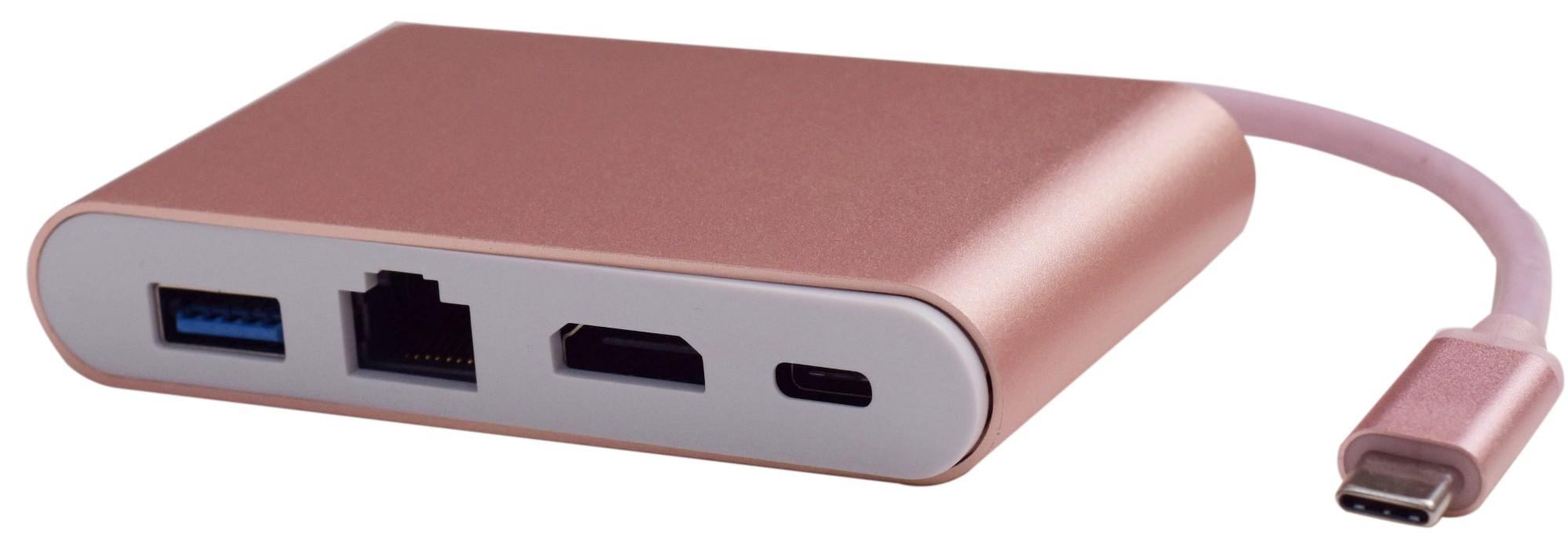 USB 3.1 Type-C To USB 3.0x3 Gigabit Ethernet Type-C PD Charging Adapter